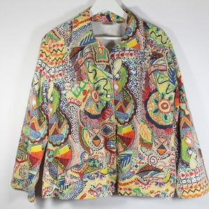 Chico's Multicolor Bright Geometric Denim Jacket 3